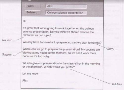 Read this email from your english-speaking classmate Alex and the notes you have made. Write your em